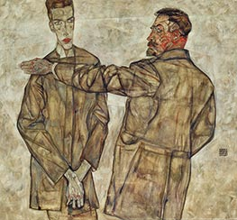 Double Portrait of Otto and Heinrich Benesch, 1913 by Schiele | Painting Reproduction