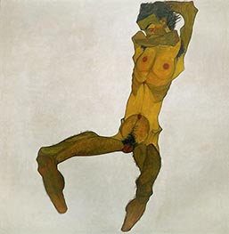 Seated Male Nude (Self-Portrait), 1910 by Schiele | Painting Reproduction