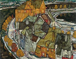 Crescent of Houses II (Island Town), 1915 by Schiele | Painting Reproduction