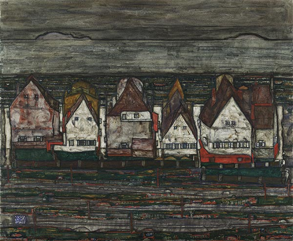 Houses by the Sea (Row of Houses), 1914 by Schiele | Painting Reproduction