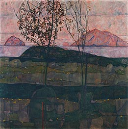Setting Sun, 1913 by Schiele | Painting Reproduction