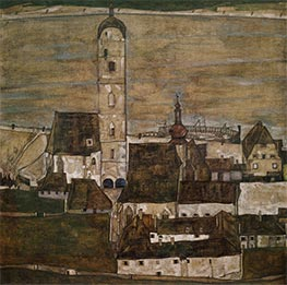 Stein on the Danube II, 1913 by Schiele | Painting Reproduction