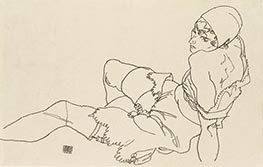 Leaning Woman in Underwear, 1917 by Schiele | Painting Reproduction