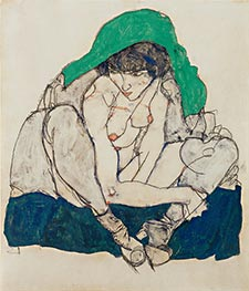 Crouching Woman with Green Headscarf, 1914 by Schiele | Painting Reproduction