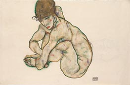 Crouching Nude Girl, 1914 by Schiele | Painting Reproduction