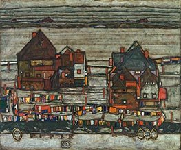 Houses with Laundry (Vorstadt - Suburb II), 1914 by Schiele | Painting Reproduction