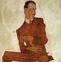 Portrait Arthur Roessler, 1910 by Schiele | Painting Reproduction