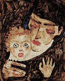 Mother and Child II, 1912 by Schiele | Painting Reproduction