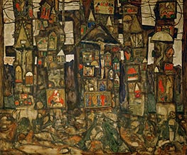 Shrines in the Wood, 1915 by Schiele | Painting Reproduction
