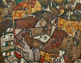 Krumau - Crescent of Houses (The Small City V), 1915 by Schiele | Painting Reproduction