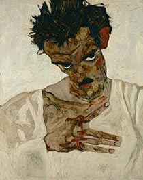Self-Portrait with Bent Head, 1912 by Schiele | Painting Reproduction