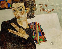 Self-Portrait with Spread Fingers | Schiele | Painting Reproduction