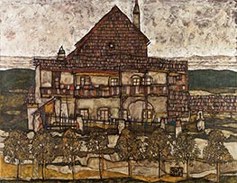 House with Shingle Roof (Old House II), 1915 by Schiele | Painting Reproduction