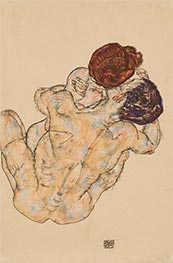 Husband and Wife (Hug), 1917 by Schiele | Painting Reproduction