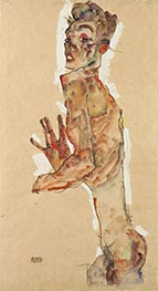 Self-Portrait with Splayed Fingers, 1911 by Schiele | Painting Reproduction