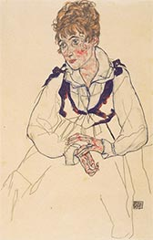 Portrait of Edith Schiele, 1917 by Schiele | Painting Reproduction