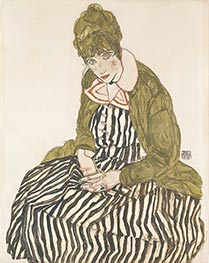 Edith with Striped Dress, Sitting | Schiele | Painting Reproduction