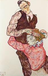 Lovers, c.1914/15 by Schiele | Painting Reproduction