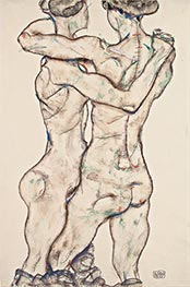 Naked Girls Embracing, 1914 by Schiele | Painting Reproduction