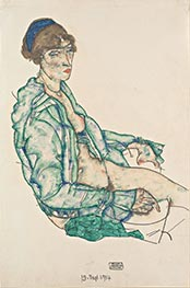 Sitting Semi-Nude with Blue Hairband, 1914 by Schiele | Painting Reproduction
