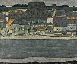 Houses on the River (The Old Town), 1914 by Schiele | Painting Reproduction