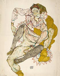 Seated Couple, 1915 by Schiele | Painting Reproduction