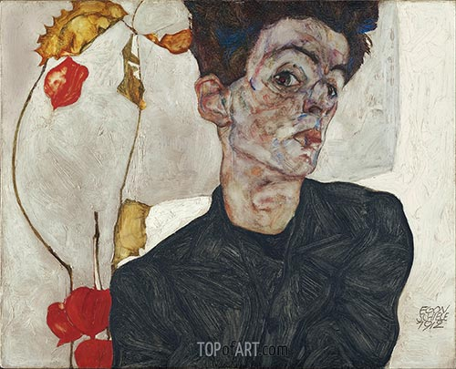 Self-Portrait with Physalis, 1912 | Schiele | Painting Reproduction