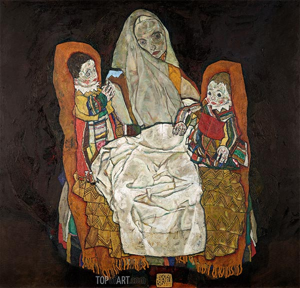 Mother with Two Children, c.1915/17 | Schiele | Painting Reproduction