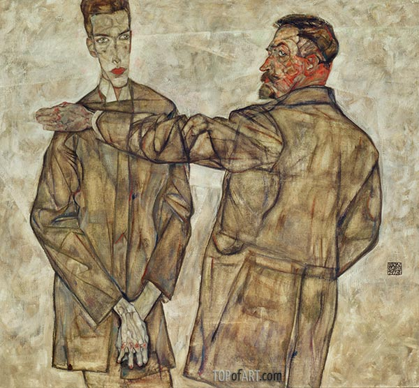 Double Portrait of Otto and Heinrich Benesch, 1913 | Schiele | Painting Reproduction