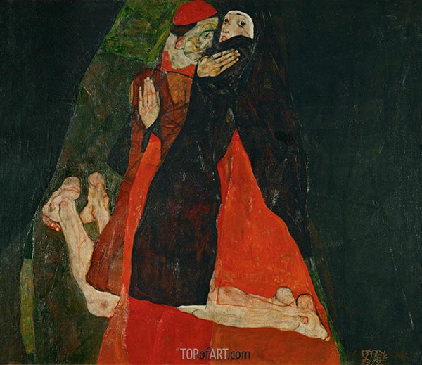 Cardinal and Nun (Caress), 1912 | Schiele | Painting Reproduction