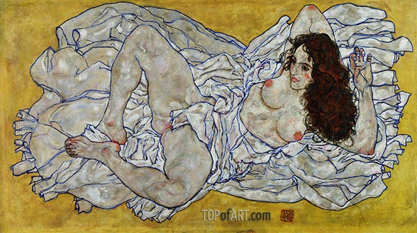 Reclining Woman, 1917 | Schiele | Painting Reproduction