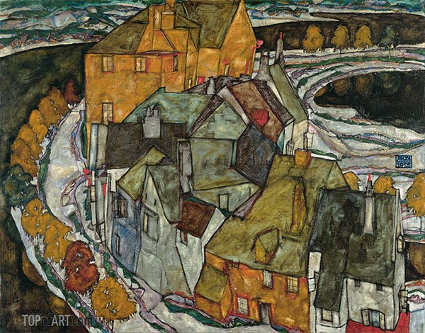 Crescent of Houses II (Island Town), 1915 | Schiele | Painting Reproduction