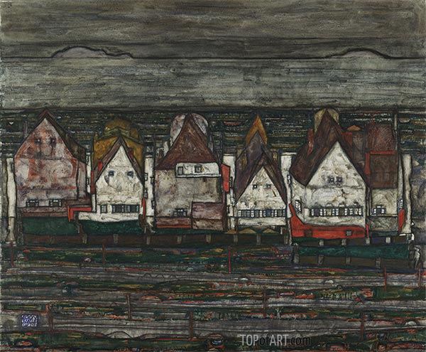 Houses by the Sea (Row of Houses), 1914 | Schiele | Painting Reproduction