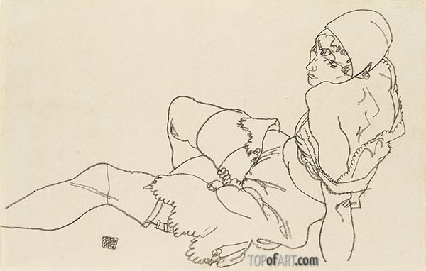 Leaning Woman in Underwear, 1917 | Schiele | Painting Reproduction