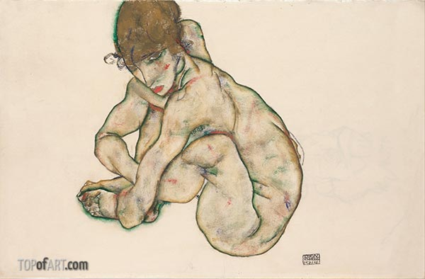 Crouching Nude Girl, 1914 | Schiele | Painting Reproduction