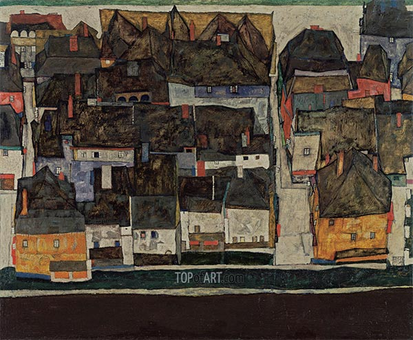 The Small City IV, 1914 | Schiele | Painting Reproduction