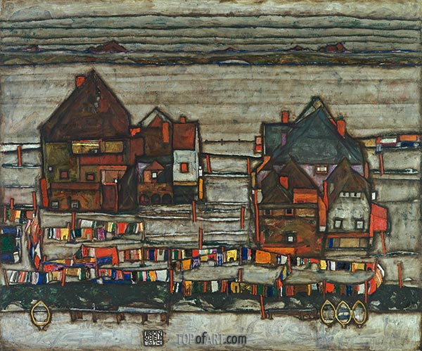 Houses with Laundry (Vorstadt - Suburb II), 1914 | Schiele | Painting Reproduction