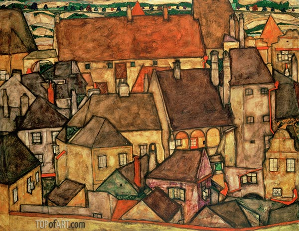 Yellow Town, 1914 | Schiele | Painting Reproduction