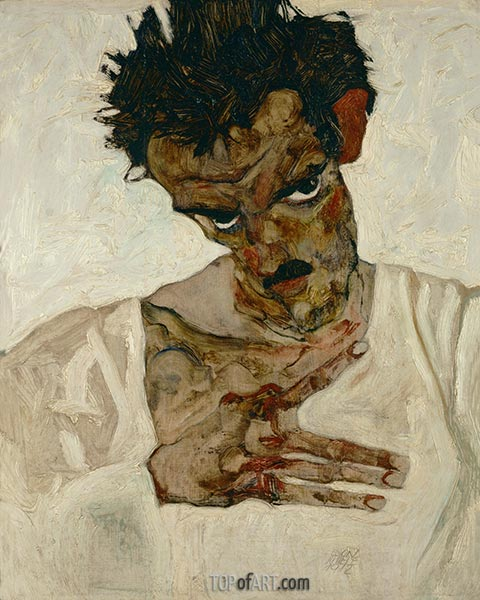 Self-Portrait with Bent Head, 1912 | Schiele | Painting Reproduction