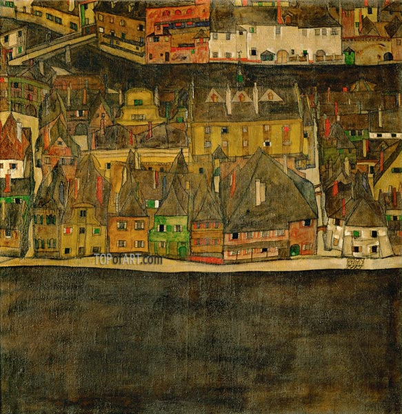 Small Town (III), 1913 | Schiele | Painting Reproduction