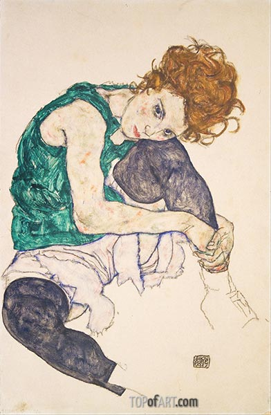 Seated Woman with Bent Knees, 1917 | Schiele | Painting Reproduction