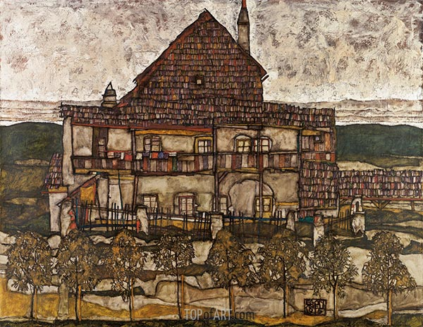House with Shingle Roof (Old House II), 1915 | Schiele | Painting Reproduction