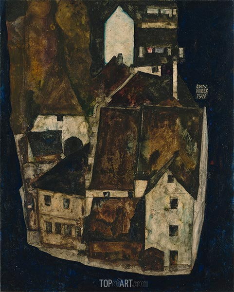 Dead City III (City on the Blue River III), 1911 | Schiele | Painting Reproduction
