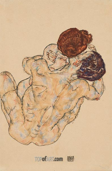 Husband and Wife (Hug), 1917 | Schiele | Painting Reproduction