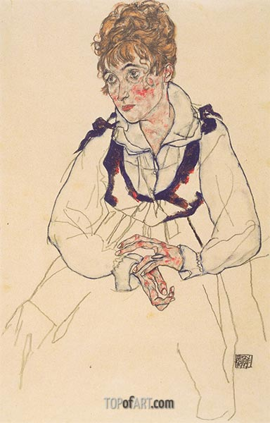 Portrait of Edith Schiele, 1917 | Schiele | Painting Reproduction