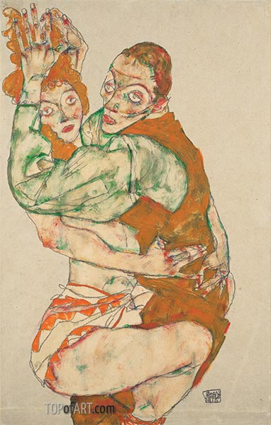 Lovemaking, 1915 | Schiele | Painting Reproduction