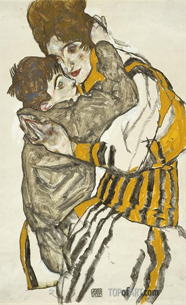 Schiele's Wife with Her Little Nephew, 1915 | Schiele | Painting Reproduction