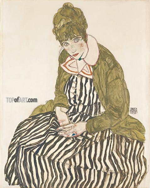 Edith with Striped Dress, Sitting, 1915 | Schiele | Painting Reproduction