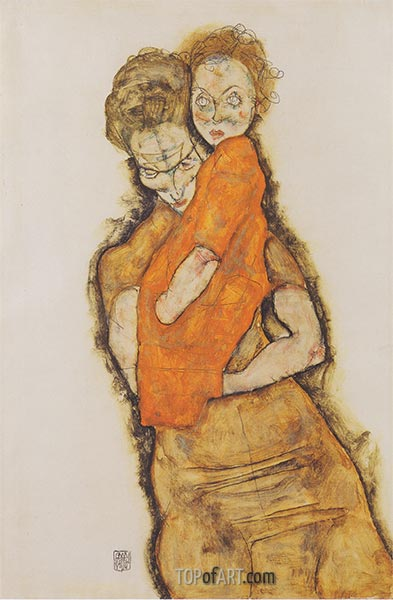 Mother and Child, 1914 | Schiele | Painting Reproduction