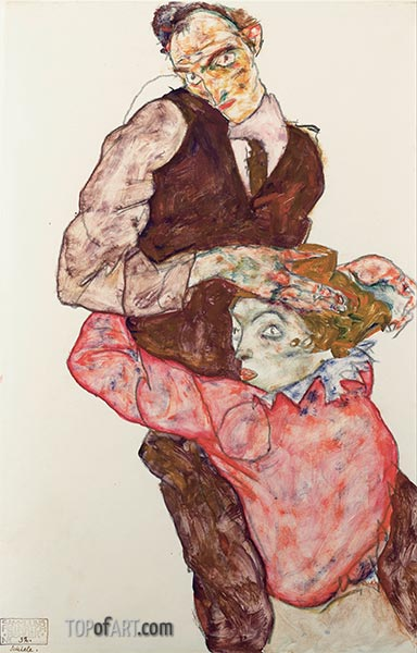 Lovers, c.1914/15 | Schiele | Painting Reproduction